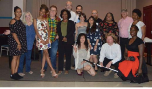 TMC STAFF AND BOARD MEMBERS. FRONT: KRYSTLE KNIGHT, GABRIEL MCMORLAND, SHERYLAND NEAL. MIDDLE: FATIMA BUNAFOOR, ROS MAHOLLAND, JORDAN MALLOY, ROB CONROY, DARNIKA REED, SYMONE SAUL, ANTONIA DOMINGO, SHERNELL SMITH, KEN JOSEPH, PEGGY WARD. BACK: NEIL COSGROVE, MARK DIXON, JONAH MCALLISTER-ERICKSON (NOT PICTURED: SISTER MARY CLARE DONNELLY, BILL CHRISNER, NIJAH GLENN, EMILY NEFF, TYRONE SCALES, BOB WILSON, DANIEL SUN) PHOTO BY ISAAC ARMANI