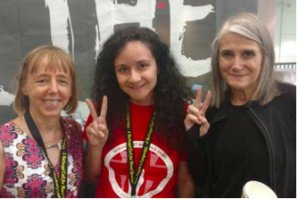 LEFT TO RIGHT: MADEA BENJAMIN OF CODE PINK, TMC ORGANIZER KRYSTLE M. KNIGHT, AND AMY GOODMAN OF DEMOCRACY NOW AT THE POOR PEOPLE'S CAMPAIGN MORAL CONGRESS.